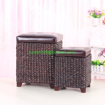 Excellent Faux Leather Lid Storage Ottoman With Bulrush Weave Buy Faux Leather Folding Storage Ottoman Storage Ottoman With Tray Leather Round Storage Ottoman Gmtry Best Dining Table And Chair Ideas Images Gmtryco