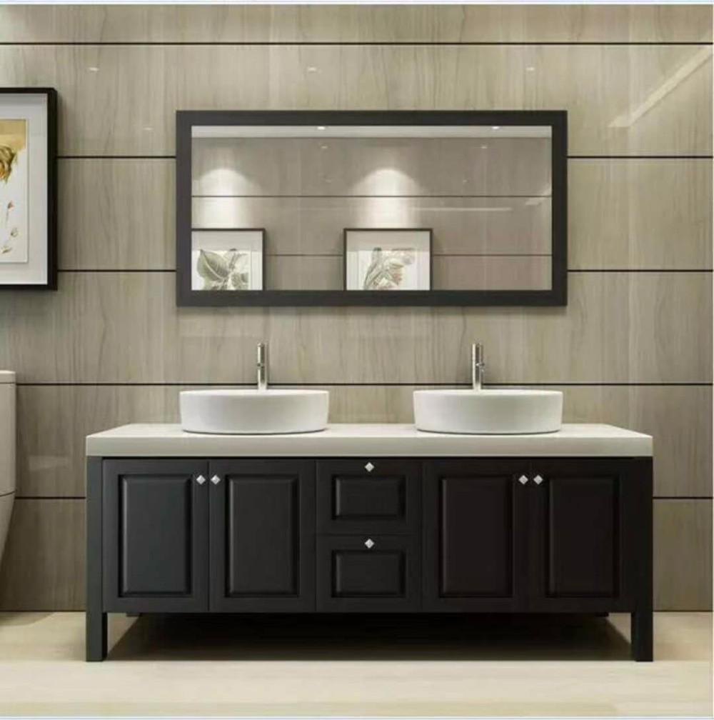 . American Modern Wood Hotel Double Sink Vanity Bathroom Custom Design