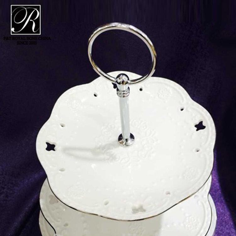 P&T ceramics factory porcelain high tea cake stand three tiers cake stand
