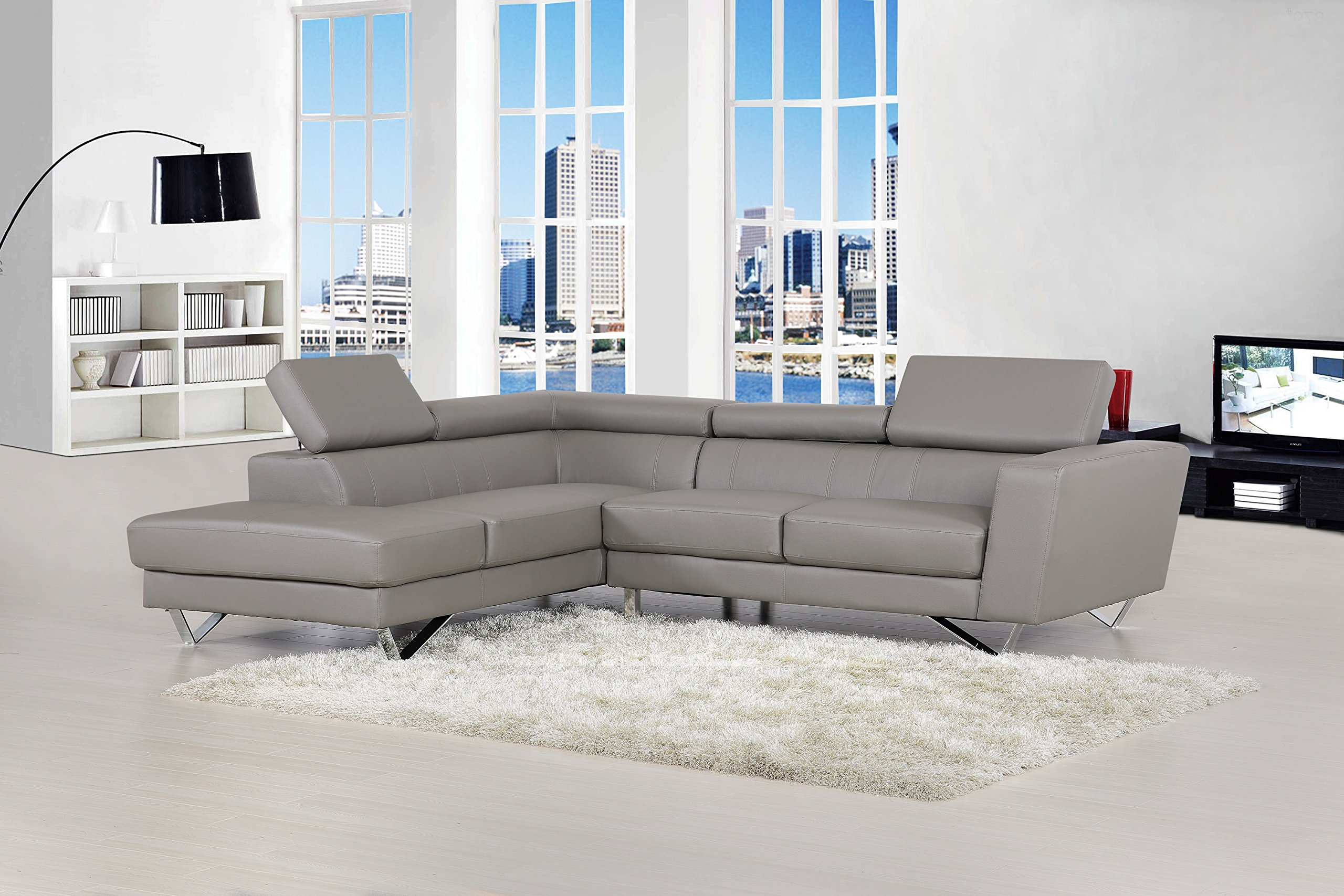 Container Furniture Direct Delia Collection Modern 2 Piece Bonded Leather L-Shaped Left Facing Sectional with Chaise, Gray