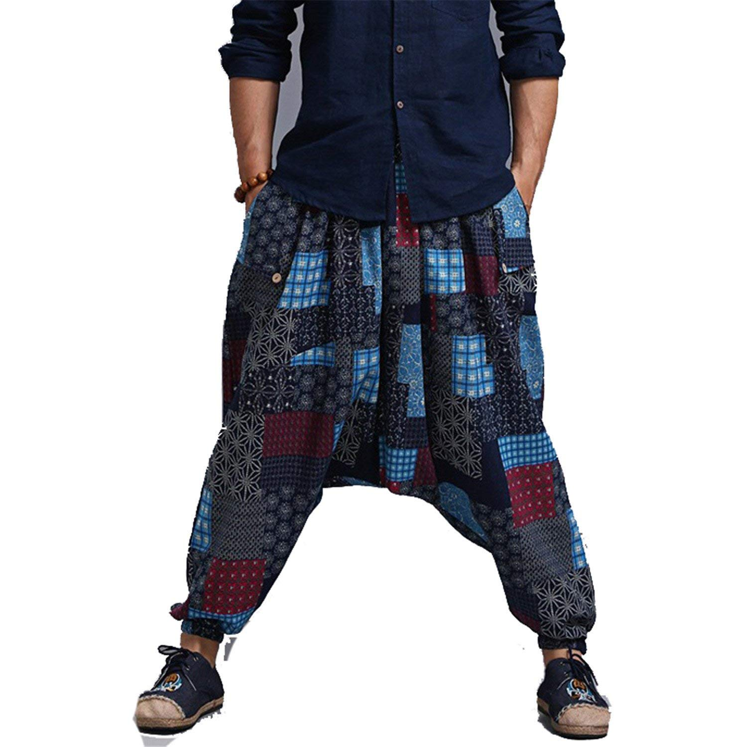 Pandapang Men Plaid Stretchable Jogging Loose Comfort Casual Pants