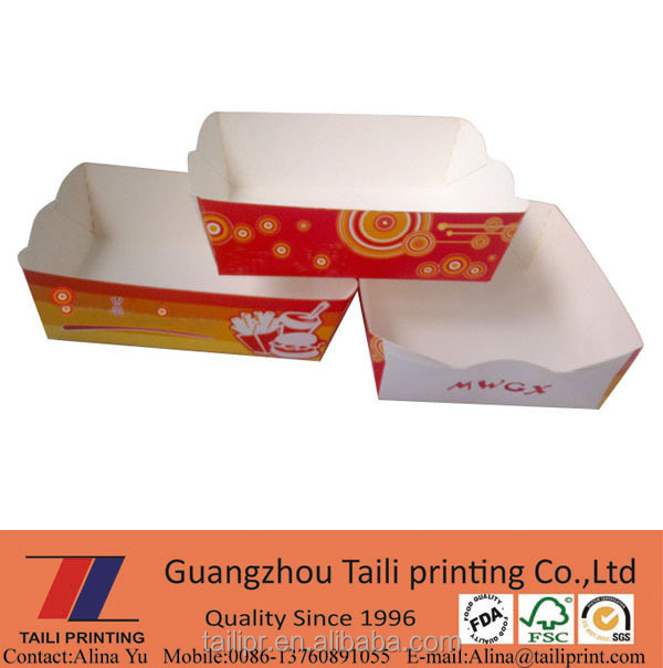 red paper tray new food grade tray paper tray fried chicken wings tray
