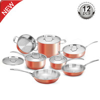 7pcs and 12 pcs stainless steel 3ply copper cookware with high quality