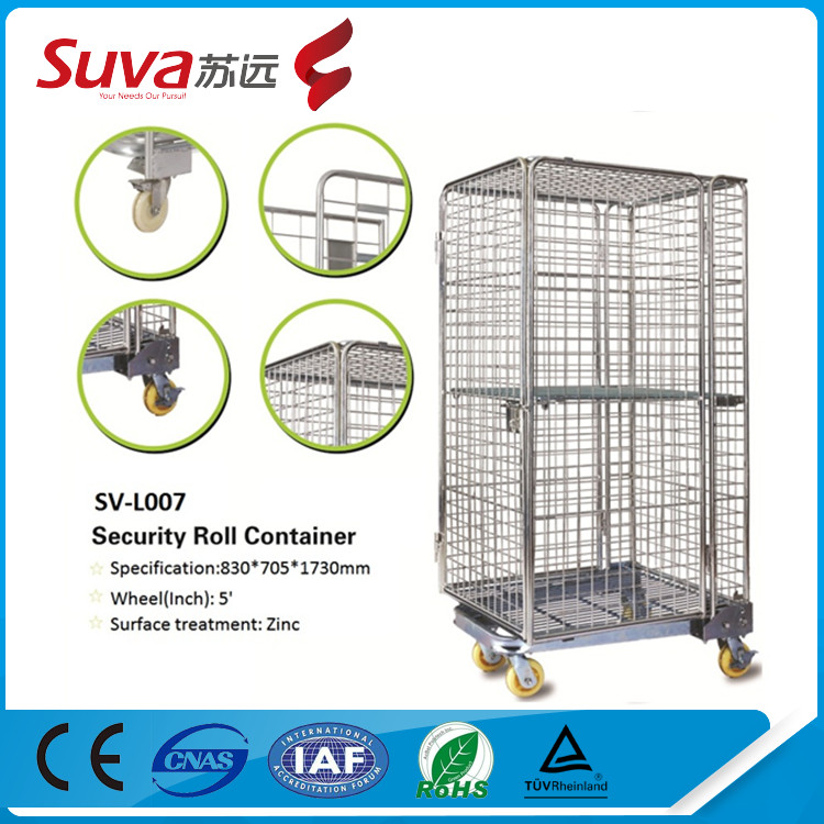 wire mesh baskets security roll container 500kg platform trolley equipment storage cages