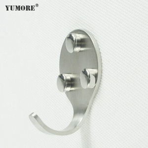Metal wall mounted furniture accessories three holes single hanging hook 304ss clothes hook garage coat hooks