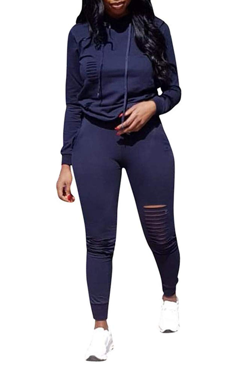 ba79629fcdee Get Quotations · Ophestin Women Casual Long Sleeve Hoodies Ripped Top  Skinny Long Pants Set Tracksuits 2 Piece Jumpsuits