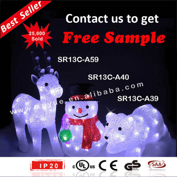 acrylic led outdoor christmas decoration outdoor led snowman reindeer and bear christmas decoration