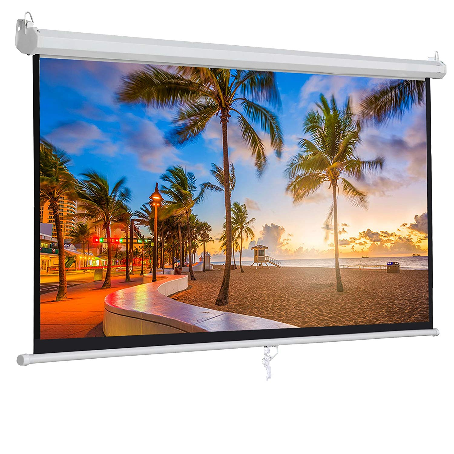 """ZENY 100"""" Projector Screen 16:9 HD Projection Manual Pull Down Portable Foldaway Movie Home Theater Projector Movies Screen (100'', 16:9)"""