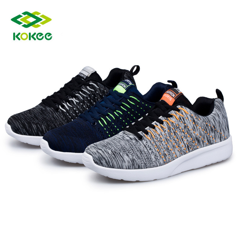 2017 hot selling new design mesh flyknit material sport shoes stock lot walking shoes
