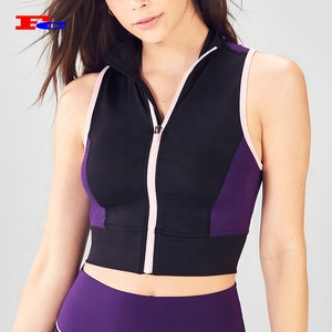 Sexy Womans Sports Wear Zip Up High Neck Womens Crop Tank Top Fitness Sport Yoga