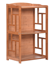Factory High Quality Corner Storage Furniture Bamboo Book Display Rack 2 Tier