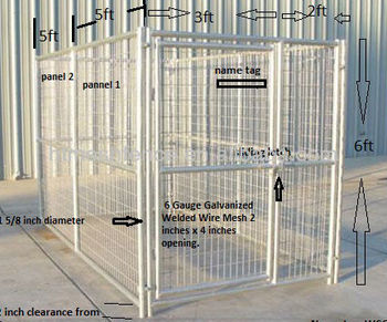 Hot Dipped Galvanized 6ftx5ft Welded Mesh Dog Wire Kennel