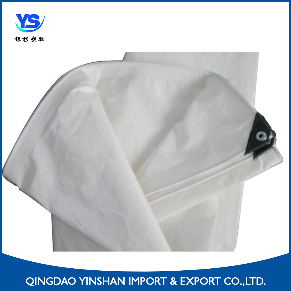 Make to order Water proof and weather resistant white stripe PE tarpaulin