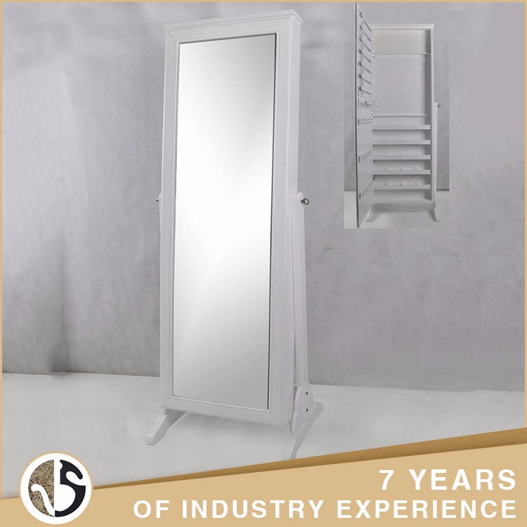 Decoration Free Stand White Iron Cabinet Mirror With Shelf