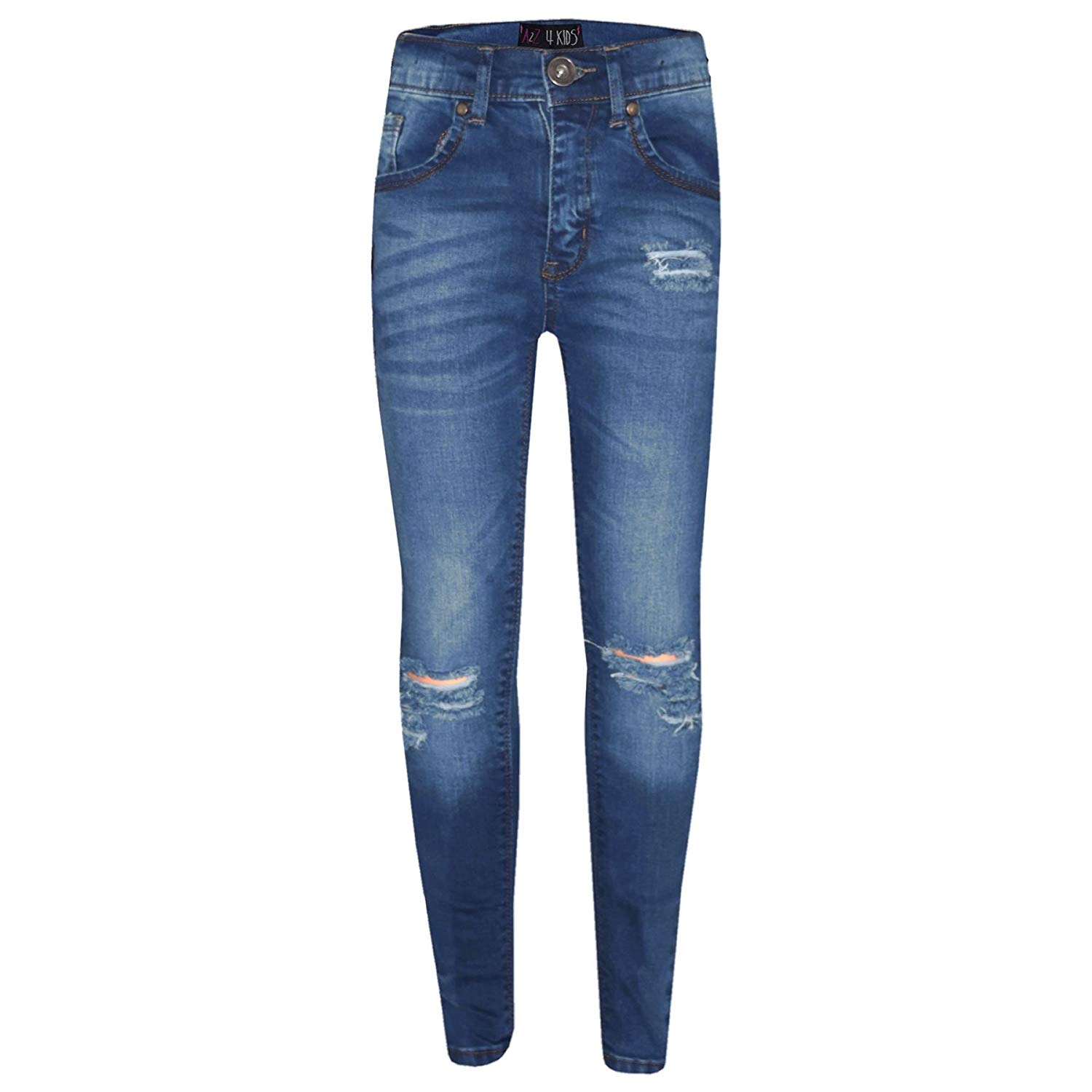 f8fc4a1d1f7c4 A2Z 4 Kids® Girls Stretchy Jeans Kids Ripped Denim Pants Trousers Jeggings  Age 5-
