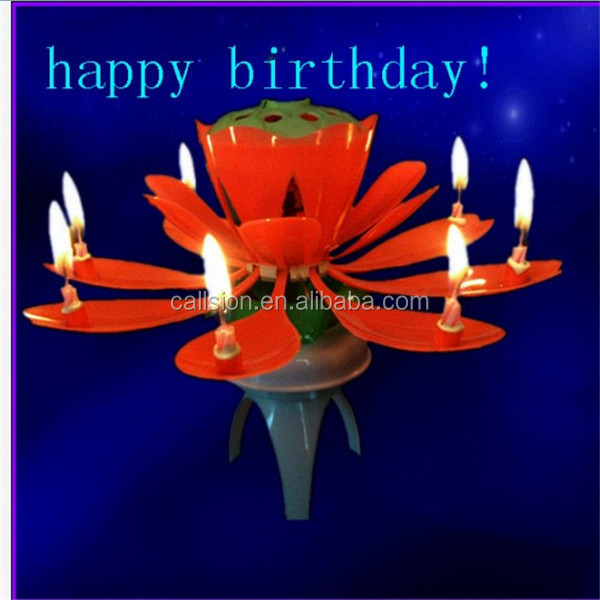 flower number rotating musical birthday candles