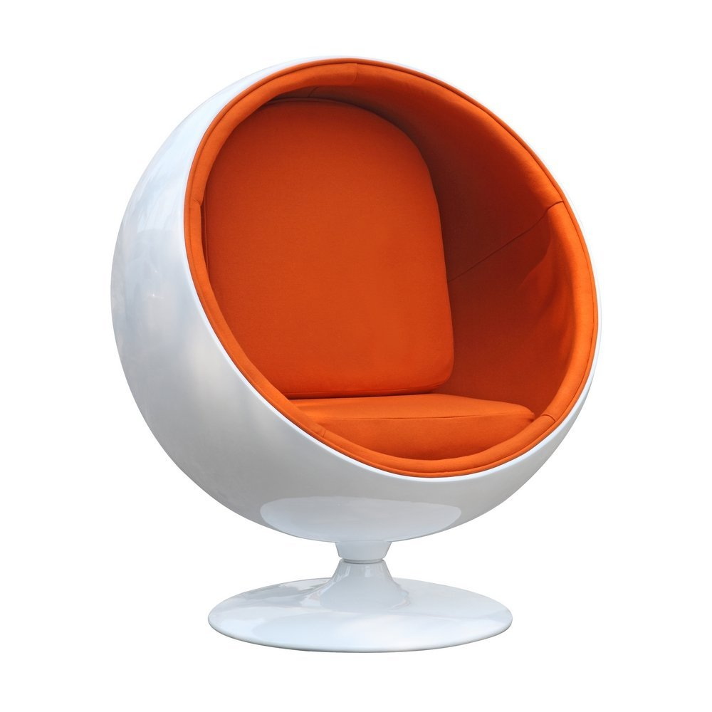 Superbe Designer Modern Eero Aarnio Ball Chair With Orange Interior   With