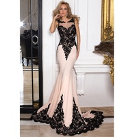 Lace Appliques Mermaid Evening Dress Sexy Sheer Back Prom Dresses Ladies Long Evening Party Wear Gown 2019 vestido de noche
