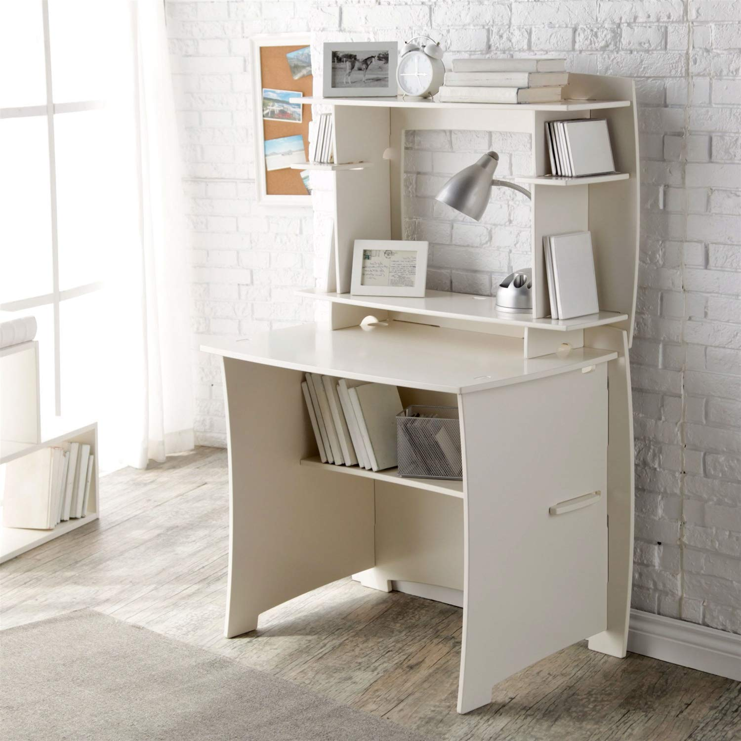 Trustpurchase White Home Office Computer/Writing Desk with Hutch, Comes Complete w/A 36-inch Straight Desk & Matching 36-inch Hutch, Offering Plenty of Storage for A Kid's Room, College Dorm Room