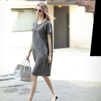 59a2c18a04 Womens Summer Baggy House Dress Loose Cotton Linen Short Sleeve Long Dress