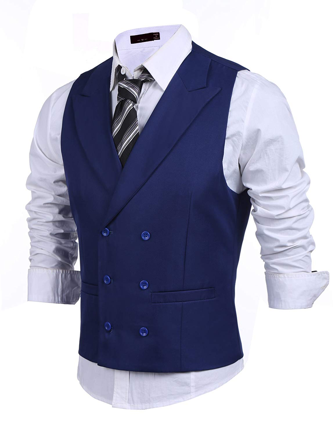 M/&S/&W Mens Business Double Breasted Sleeveless Suit Vest Dress Waistcoat
