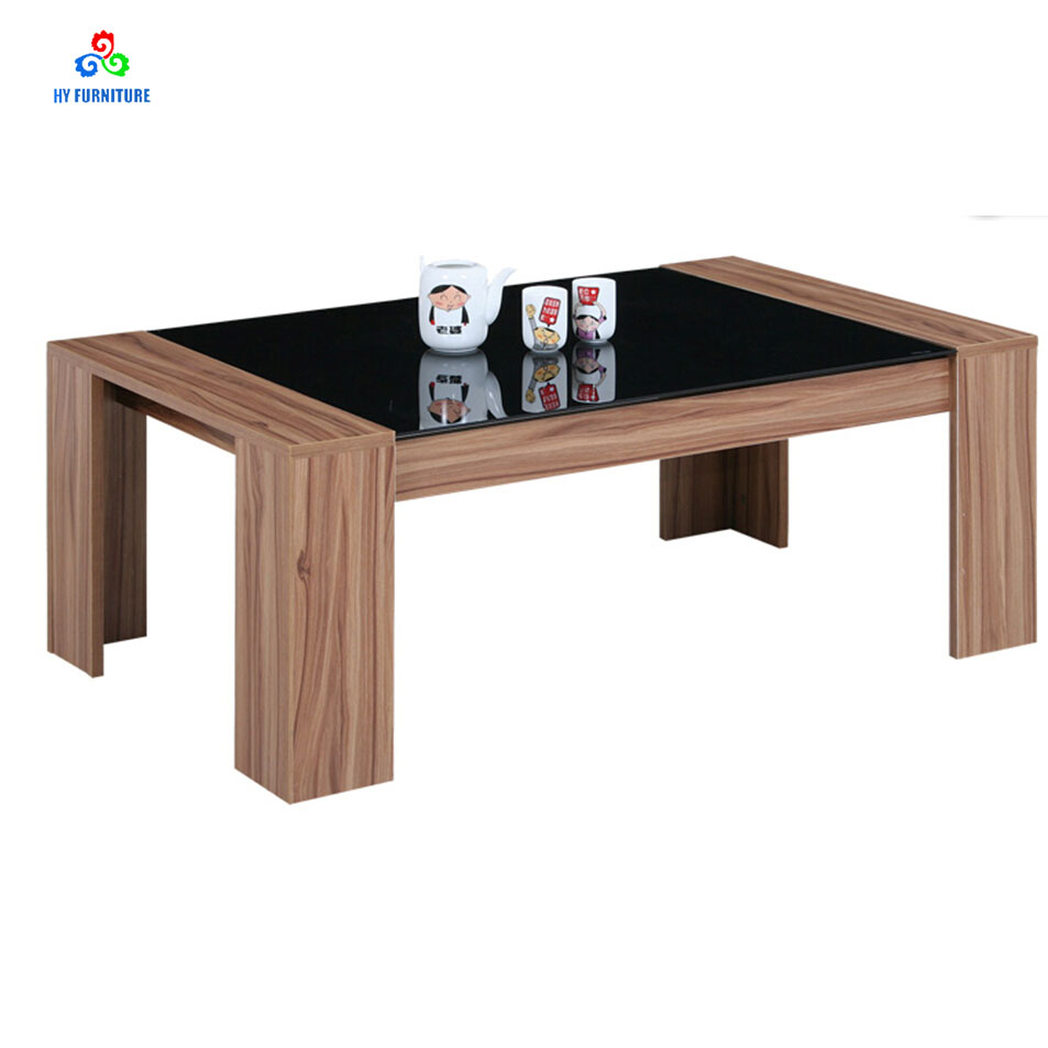 - Modern Rectangular Glass Top Coffee Table Tea Table With Wooden