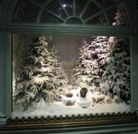 Artificial Christmas tree with snow for window display decoration winter theme
