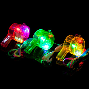Round Cheer Colored Led Flashing Whistles Lighting Plastic Led Whistle Toys