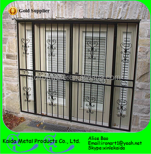 Simple decorative forging craft wrought iron door window for Iron window design house