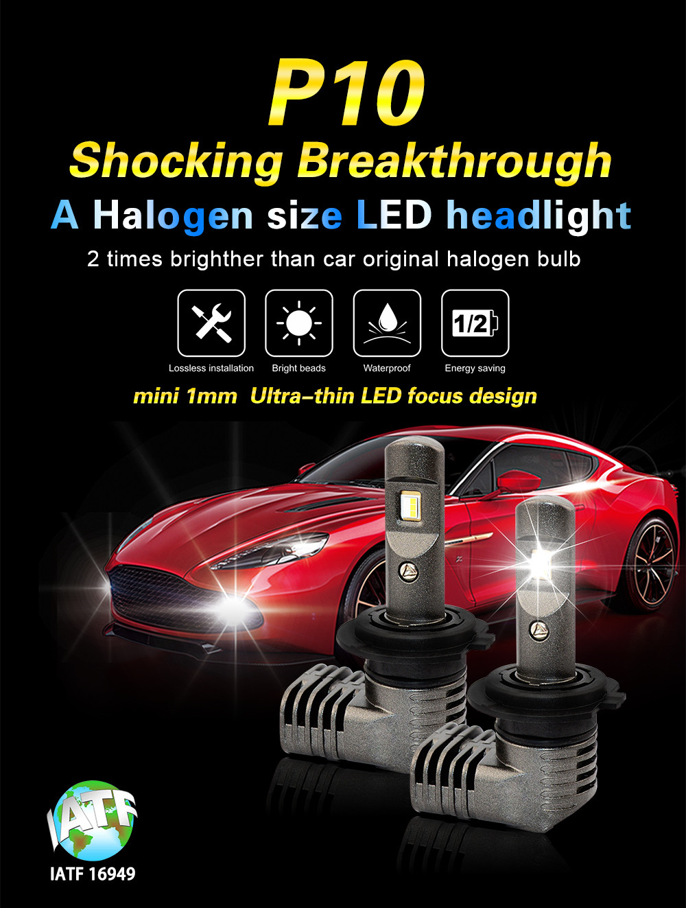 New Halogen Size LED Car Light CE FCC TS 16949 LED AUTO LAMP Best Seller Auto Lighting System