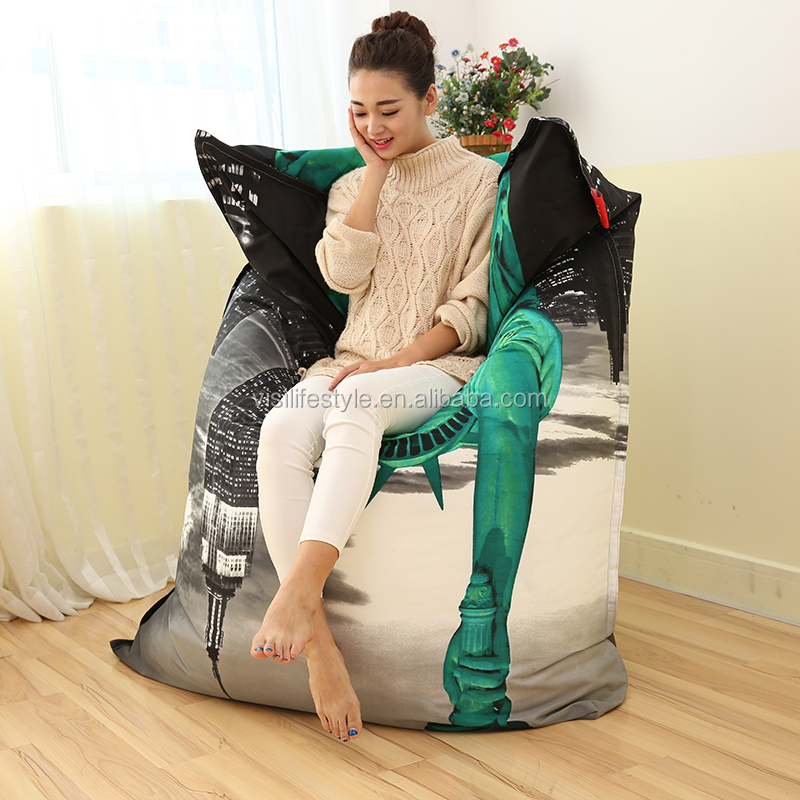 2016 New chaise design The Statue of Liberty printing bean bag lazy boy recliners