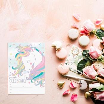 25 Unicornio Mágico Cumpleaños Invita Con Sobres Sobres De Doble Cara Llenar El Espacio En Blanco Las Niñas Tarjetas De Cumpleaños Buy Juego De