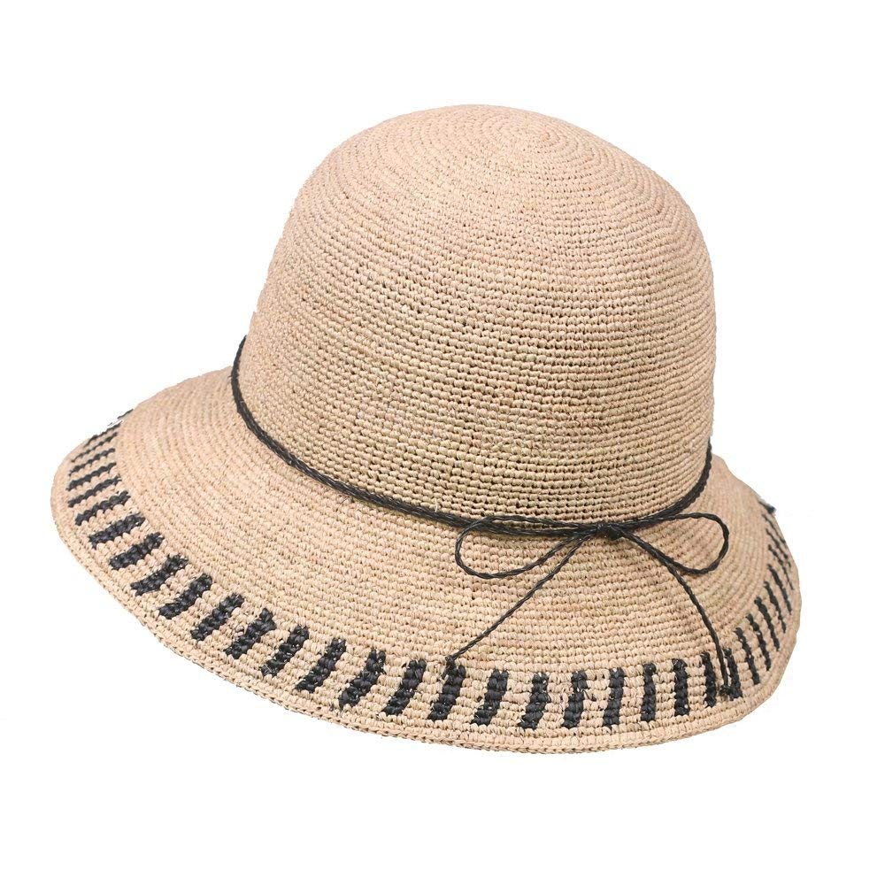 5e1a3e5795b Get Quotations · GRAS women's summer fishman straw hat bucket hat with wide  brim summer sun hat summer beach