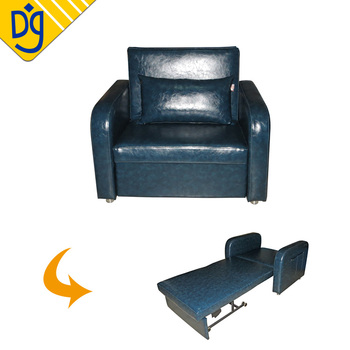 Pull Out Leather Single Seat Sofa Couch Bed For Hotel