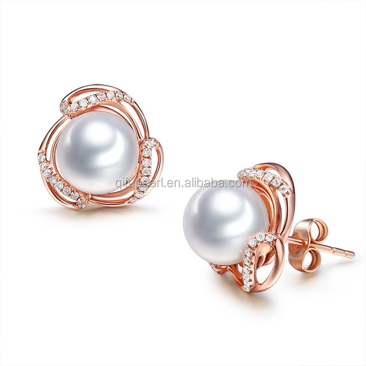 Chic 18k Solid Rose Gold Pearl Earrings Stud Designs With Diamonds