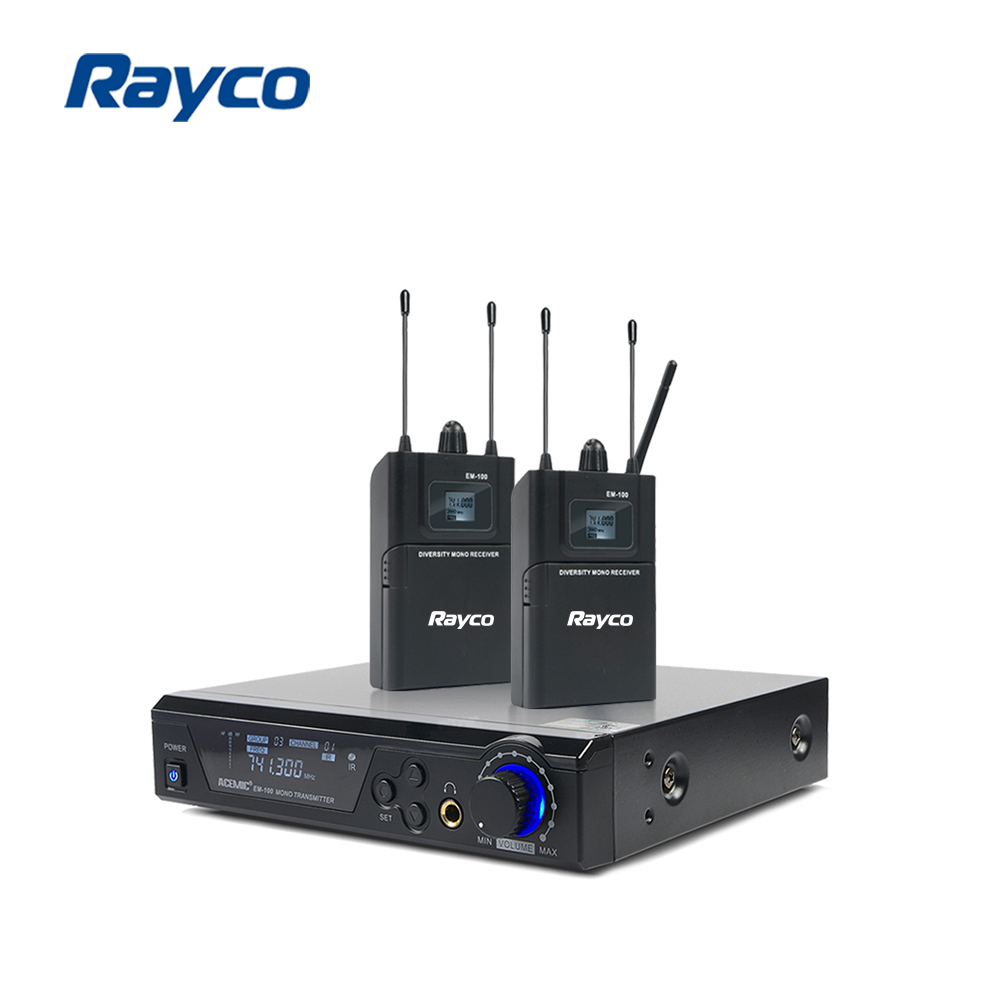 Audio in Ear Monitor and Receiver System, 100 Pre-Set Selectable Audio Frequency UHF Wireless Monitor System, 2 Combo XLR + 1/4