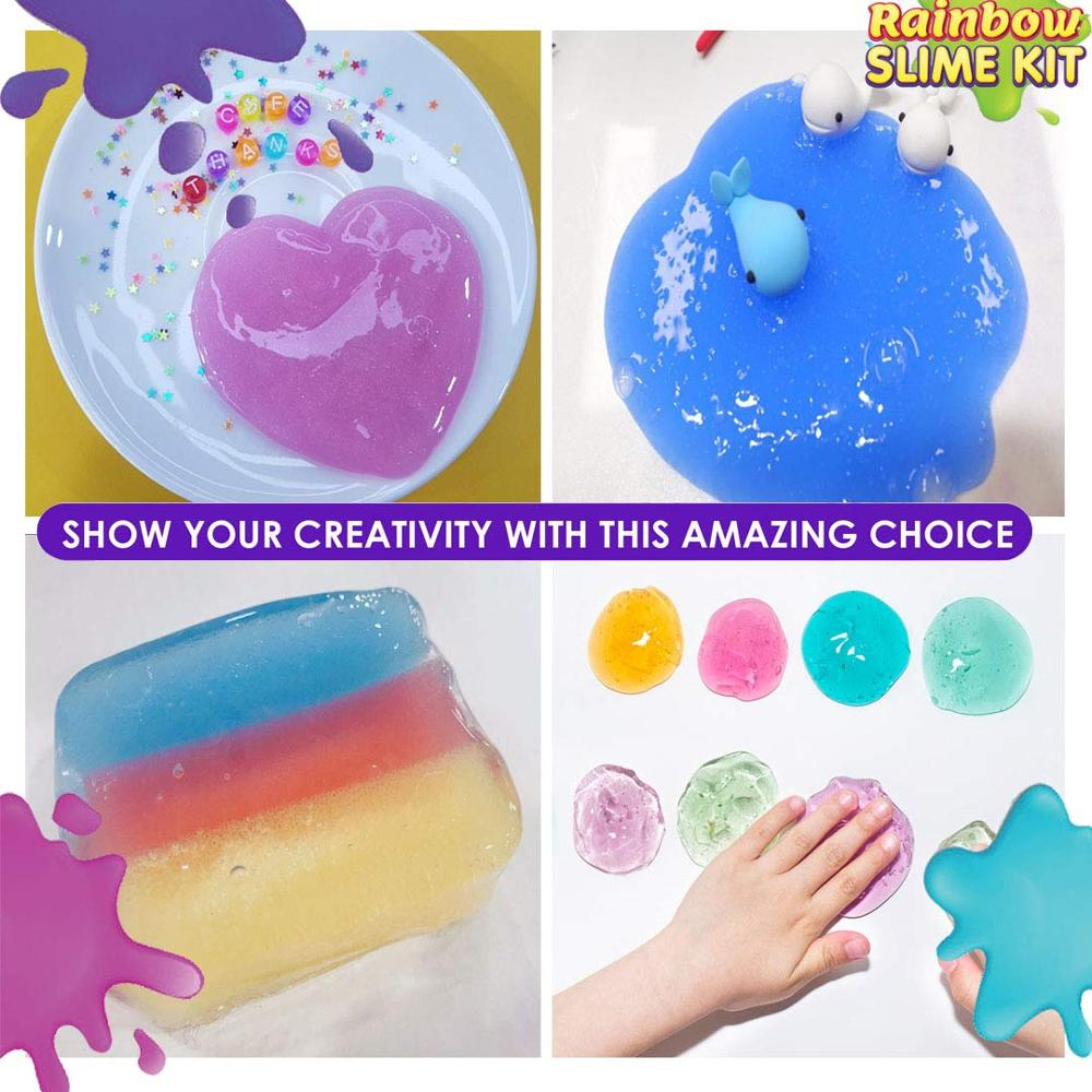 diy slime kit Rainbow kit putty slime Ultimate Glow in the Dark Glitter slime making kit