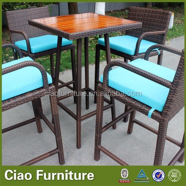 Outdoor high bar table with teak wood top, View high bar ...