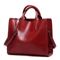 Latest Style Vintage Women Oil pu Leather Tote Bag Shoulder Handbags for Lady