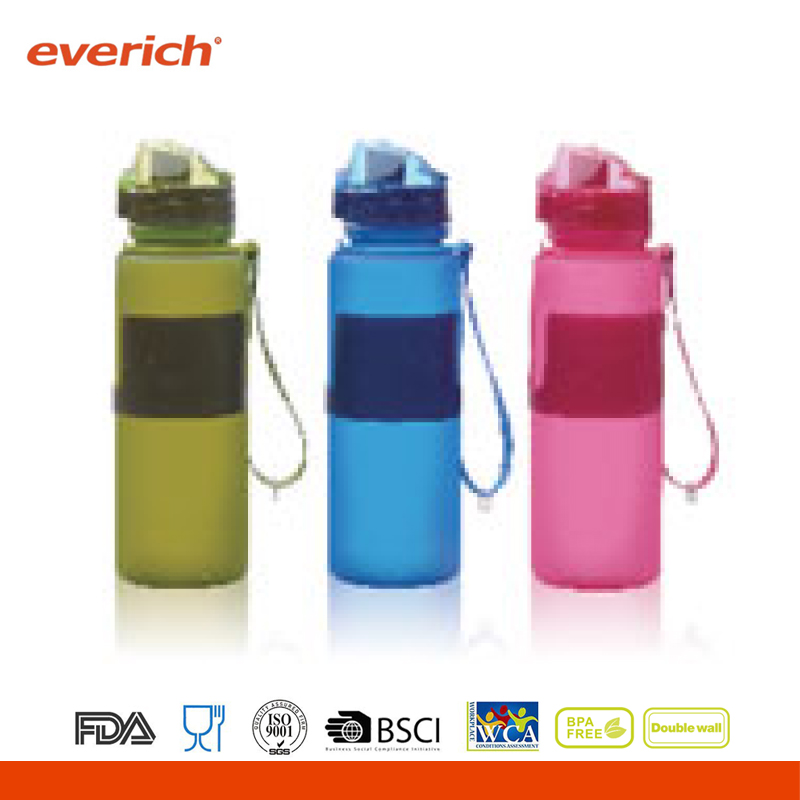 Hot sale colorful drinking silicone travel water bottle