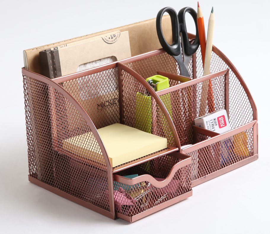 Metal Mesh Desk Organizer with Drawer, 6 Compartment, Powder Coated