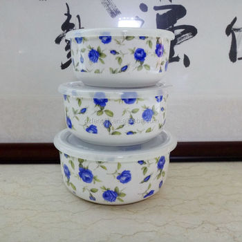 3pcs Tableware Ceramics Preservation Bowl With Plastic Lid Mixing Microwavable Available