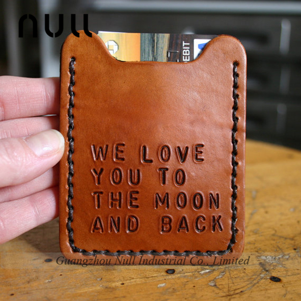 Men's engraved genuine leather card holder clip wallet