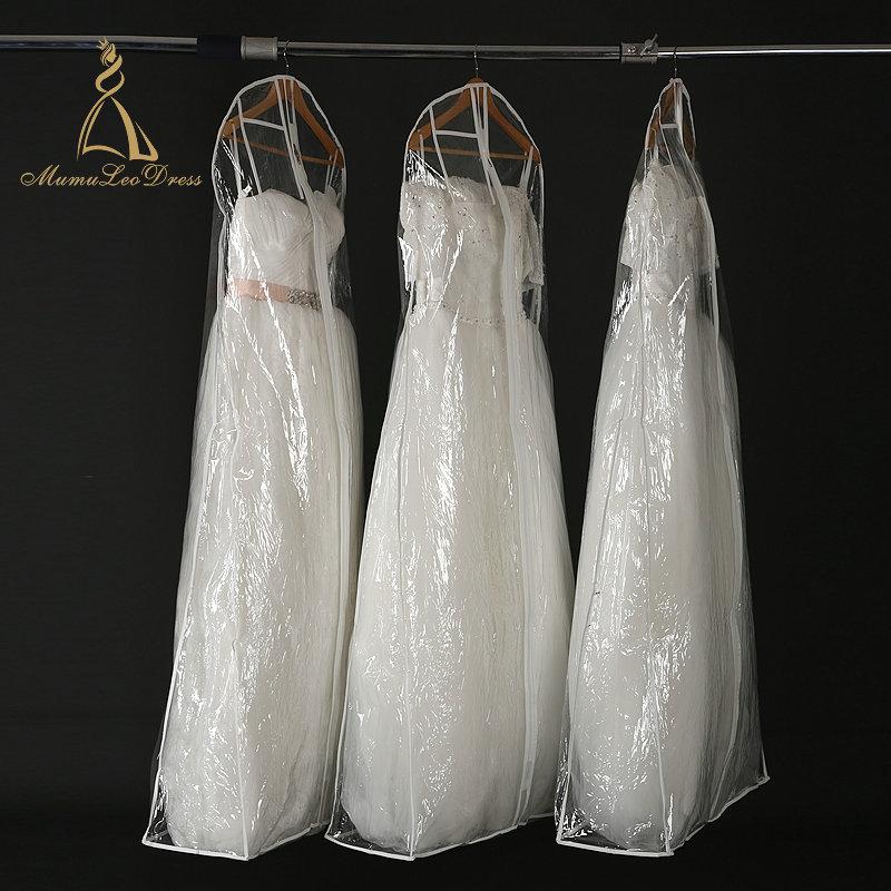 Stockage En Plastique D'emballage de Couverture De Fermeture Éclair Robe De Mariée Sac De Vêtement En Gros