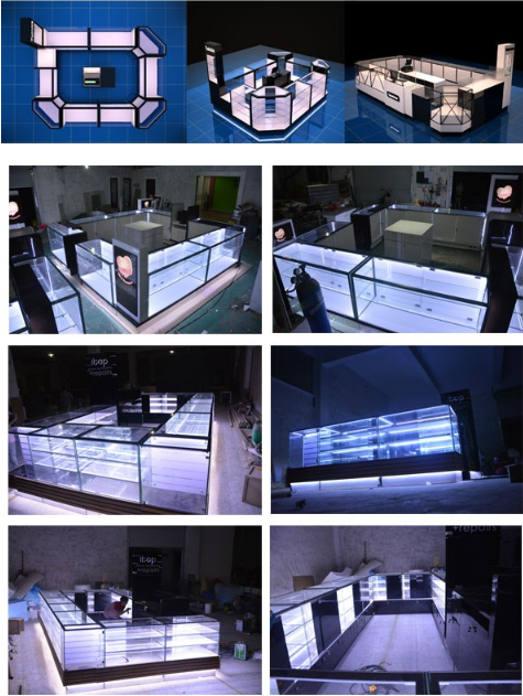 transparent glass led display case, jewelry kiosk for sale