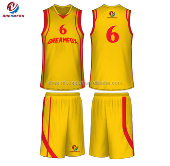 New Sublimated Color Yellow Basketball Uniform Logo Designs Chargers