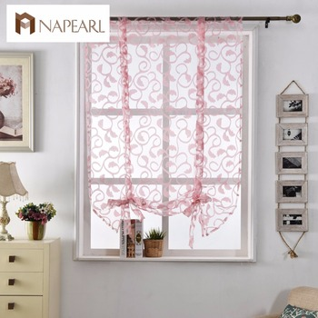 NAPEARL Latest Design Jacquard Pink Sheer Fabric Door Kitchen Curtains