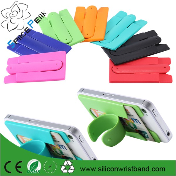 silicone card wallet custom logo phone case back card holder 3M sticker adhesive silicone card wallet for mobilephone