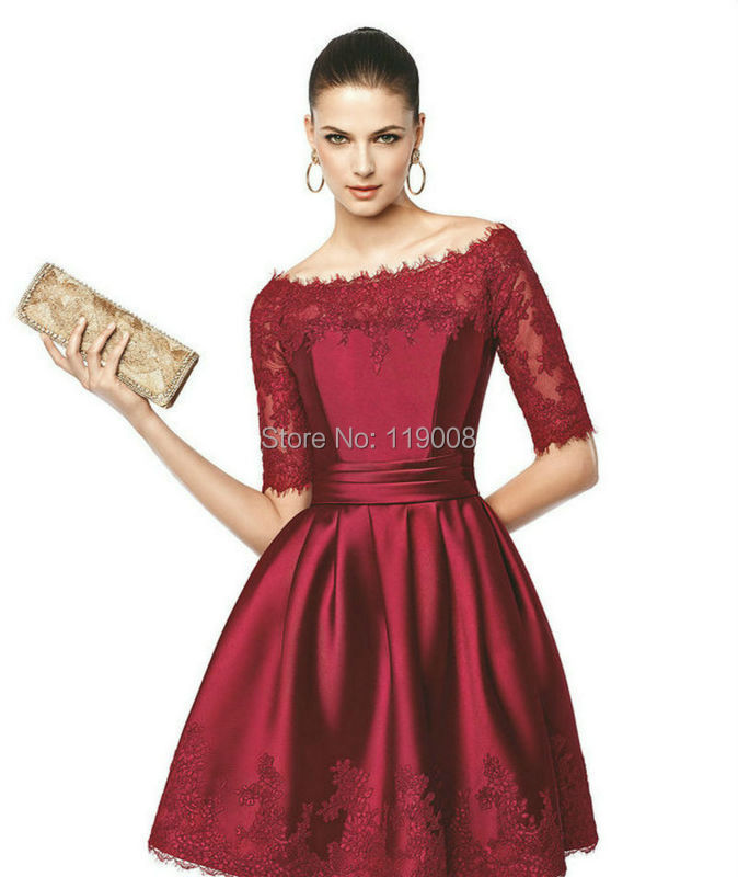 2015 New Arrival Custom Made Elegant Half Sleeves Knee Length Red Lace Formal Gowns Short Party Evening Dresses Prom Dress