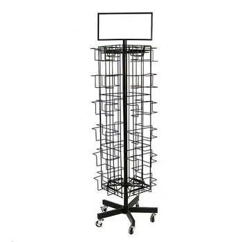 Floor CD Calendar Magazine Post greeting Card Stand Metal Wire Spinning Display Rack